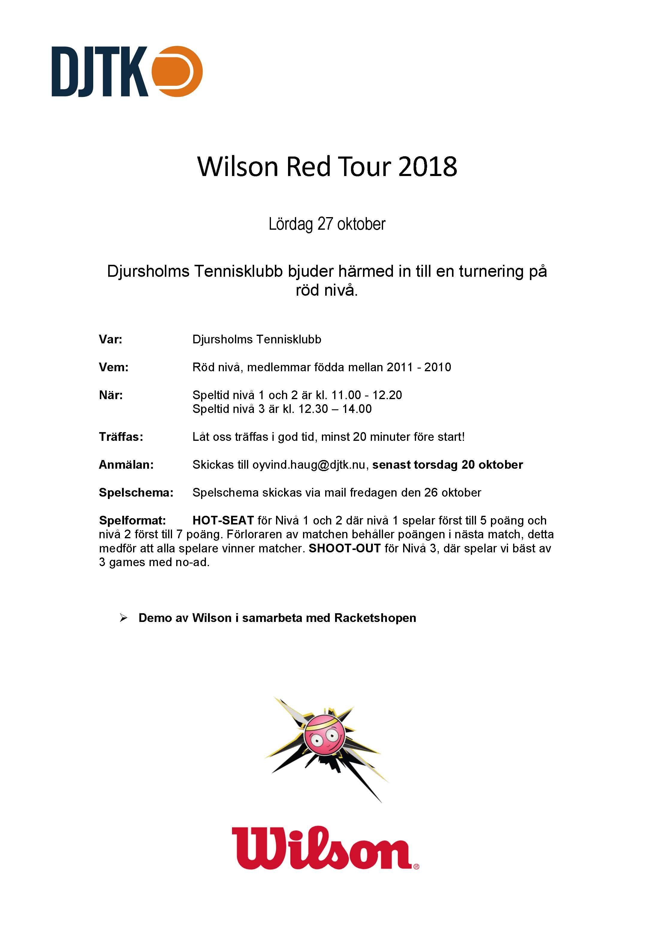 Wilson Redtour 27 oktober 2018
