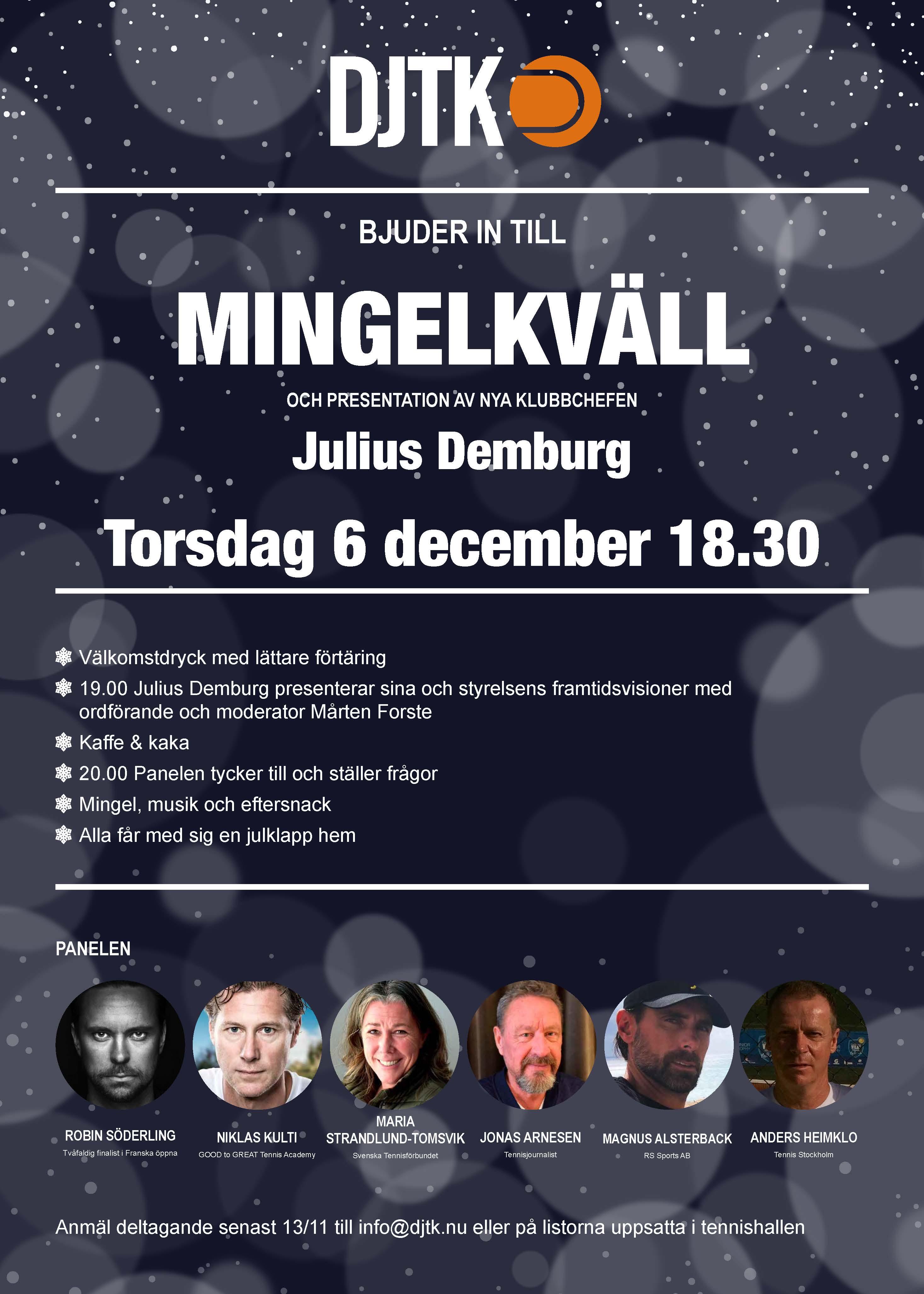 Inbjudan till DJTKs Mingelkvall_